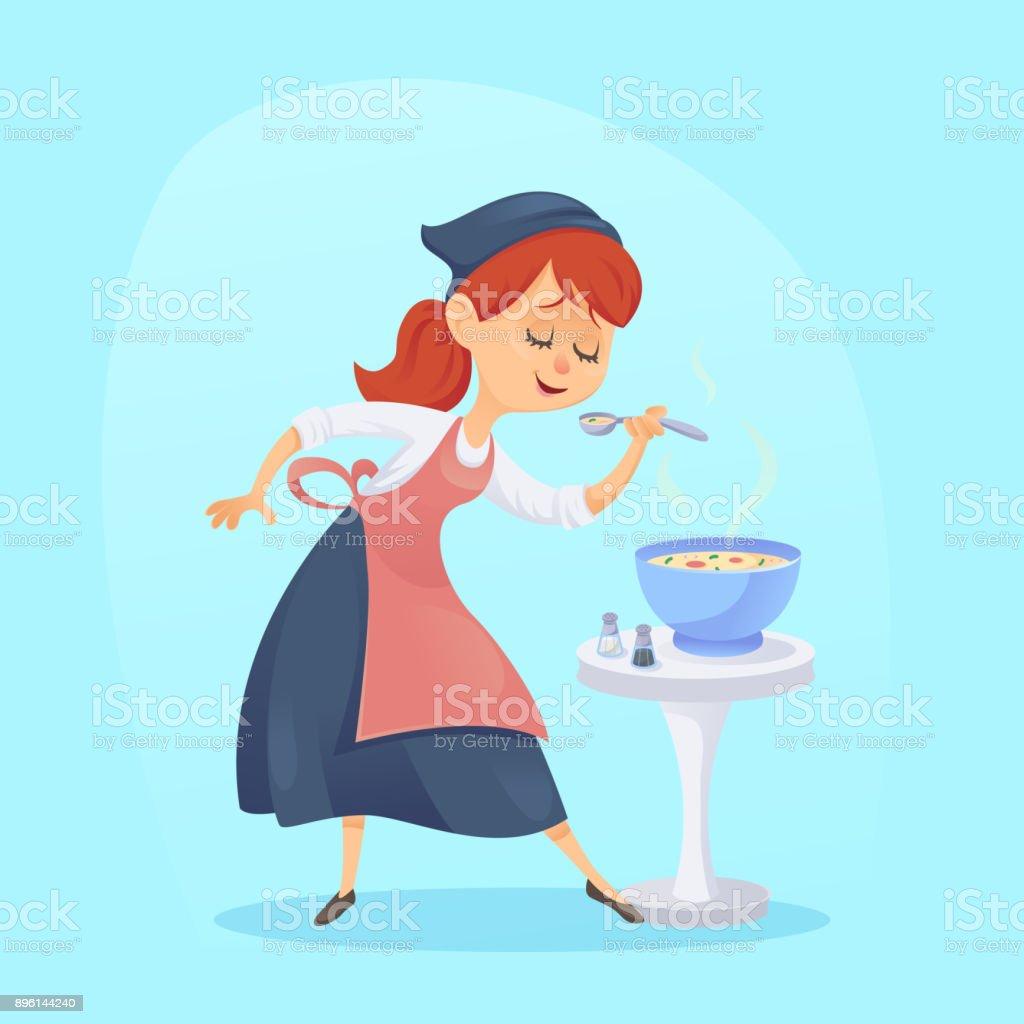 面白いかわいい漫画料理女性主婦料理のベクトル イラスト ほっそりした