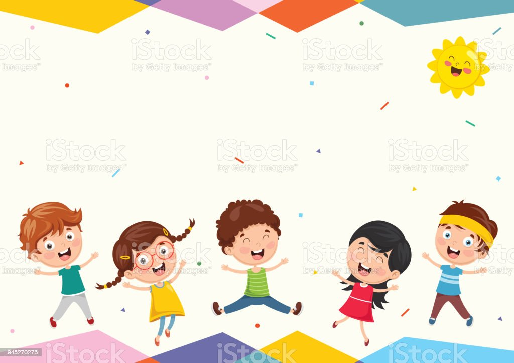 Vector Illustration Of Funny Kids Playing Outside Stock ...