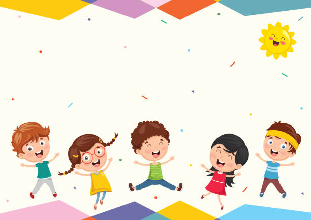 vector illustration of funny kids playing outside - kids stock illustrations, clip art, cartoons, & icons