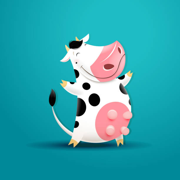 vector illustration of funny smiling cow - cow stock illustrations, clip art, cartoons, & icons