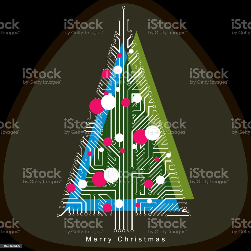 Vektorillustration Von Futuristischen Immergrünen Weihnachtsbaum ...