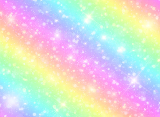 vector illustration of galaxy fantasy background and pastel color.the unicorn in pastel sky with rainbow. pastel clouds and sky with bokeh. cute bright candy background. - rainbow glitter background stock illustrations