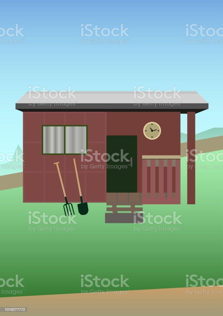 Vector illustration of gardening - old garden shed vector art illustration
