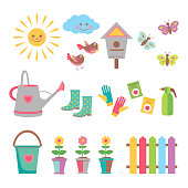 A vector illustration of  gardening theme clip arts. Included in this set:- watering can, garden glove, cartoon sun and cloud,  nesting box, butterfly, bird and flowers.