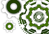 istock Vector illustration of gear wheels on white background. Abstract techno background: bright rotating gear. Mechanical engineering technology symbol. I 1142348217
