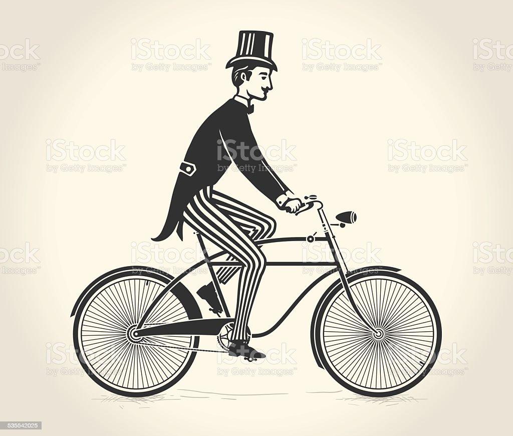 Vector illustration of gentleman ride a vintage bicycle vector art illustration