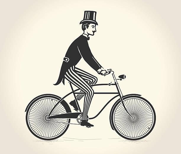 vektor-illustration von gentleman mit einem vintage fahrrad - lustige fahrrad stock-grafiken, -clipart, -cartoons und -symbole