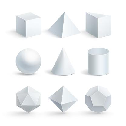 Vector illustration of geometric shapes on white background