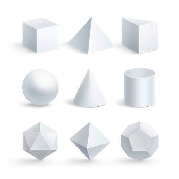 stockillustraties, clipart, cartoons en iconen met vectorillustratie van geometrische vormen op witte achtergrond - veelvlakkig