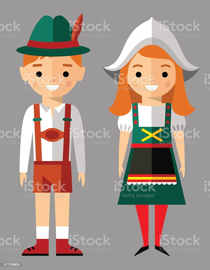 Vector illustration of german children, boy, girl, people vector art illustration