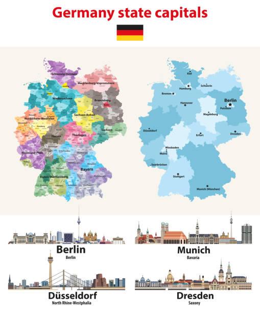 bildbanksillustrationer, clip art samt tecknat material och ikoner med vektor illustration av tyskland karta med stats huvudstäder städer horisoner - berlin street