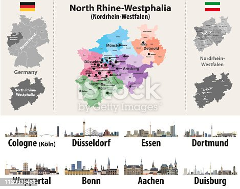 istock vector illustration of Germany state's North Rhine-Westphlia map with largest cities skylines 1139535461