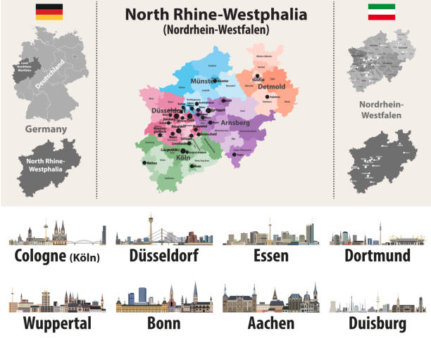 vector illustration of Germany state's North Rhine-Westphlia map with largest cities skylines vector illustration of Germany state's North Rhine-Westphlia map with largest cities skylines lachen stock illustrations