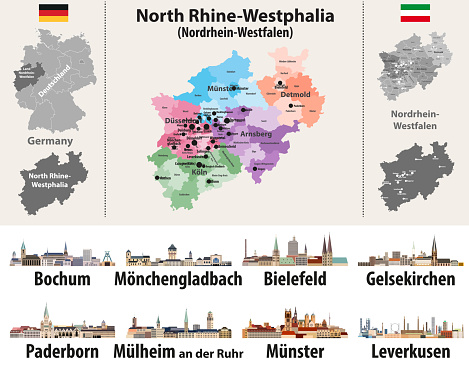 vector illustration of Germany state's North Rhine-Westphlia map with largest cities skylines