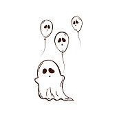 Vector illustration of ghost with balloons