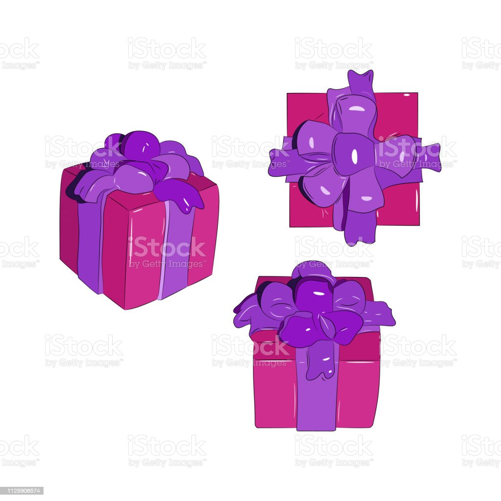 Vector illustration of gift boxes. Surprise box.