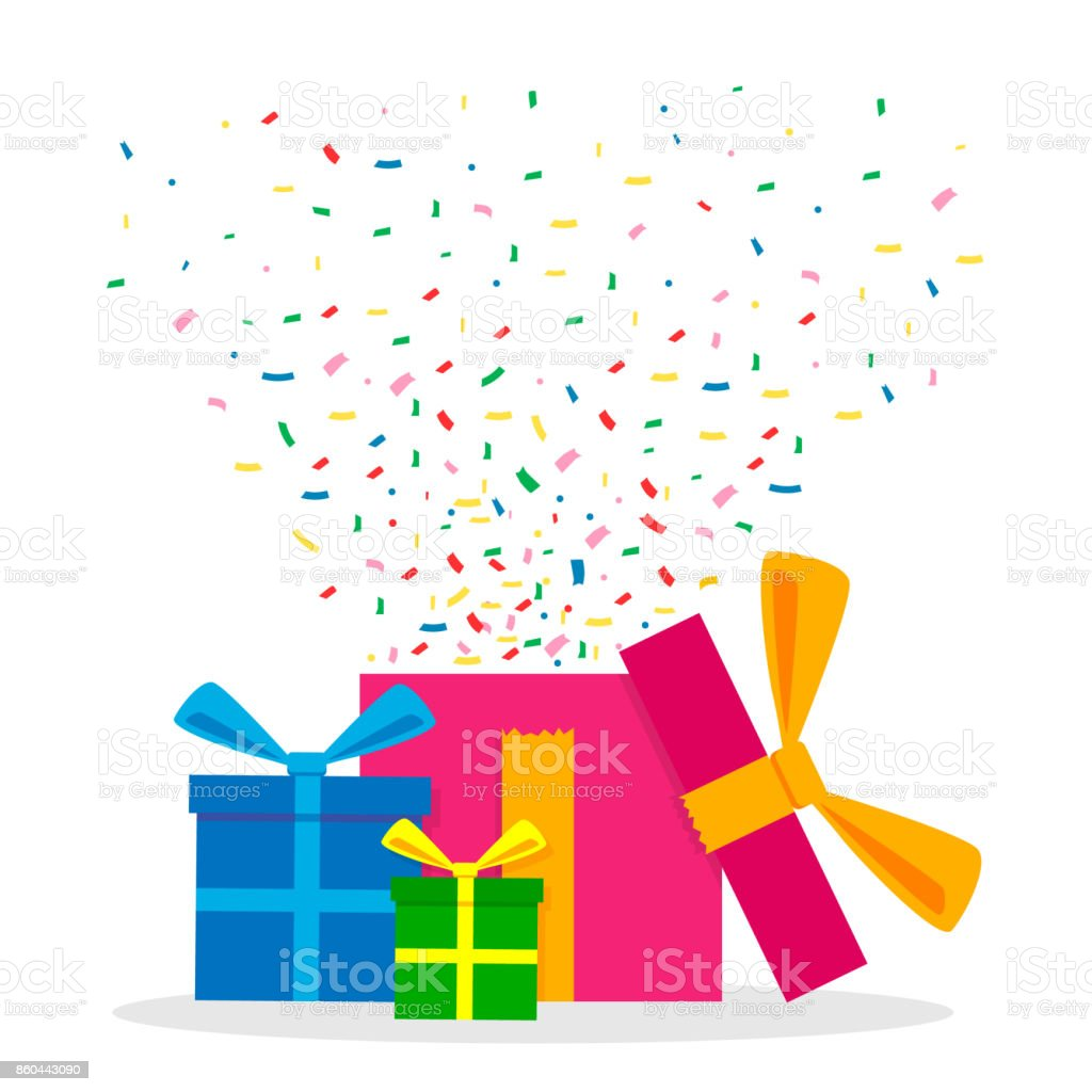 Vector Illustration of Gift Boxes with Confetti. vector art illustration