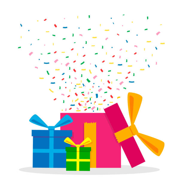 vector illustration of gift boxes with confetti. - prezent na urodziny stock illustrations