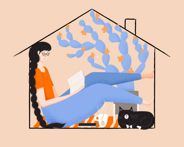 ilustrações de stock, clip art, desenhos animados e ícones de vector illustration of girl with long braided hair reading at home with cat and hot tea. social distancing concept. self improvement and mental health concept. - covid hair