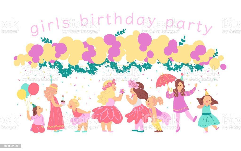 Vectorillustratie Van Meisjes Verjaardag Partij Gelukkig Tekens