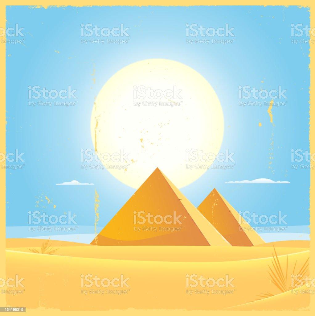 Vector illustration of Giza Egyptian pyramids vector art illustration