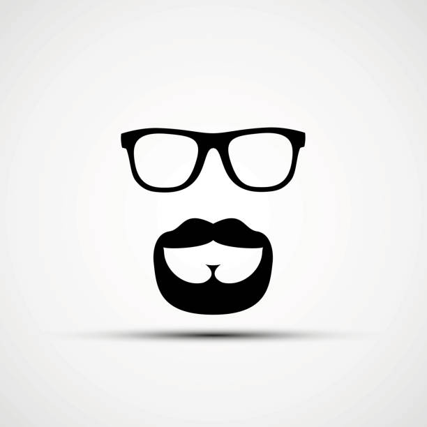 vector illustration of glasses and a mustache - old man glasses silhouettes stock illustrations, clip art, cartoons, & icons