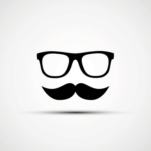 vector illustration of glasses - old man mask stock illustrations, clip art, cartoons, & icons