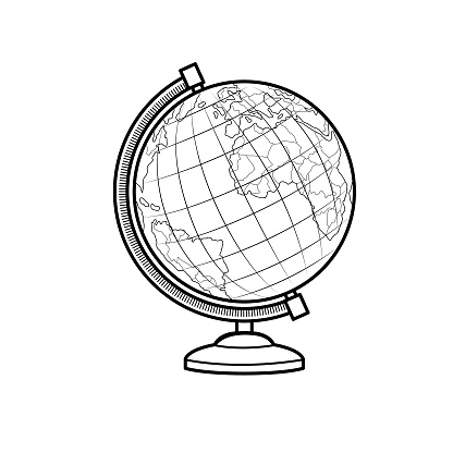 Vector illustration of globe isolated on white background. Black and White for coloring. School things and accessories concept. Education and school material, kids coloring page, printable, activity, worksheet, flash card.