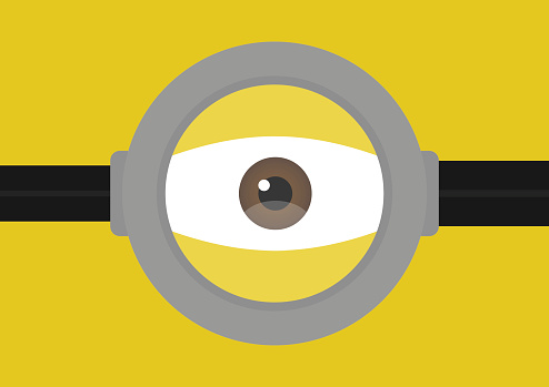 Vector illustration of goggle eyes on yellow color background. Vector illustration background design.