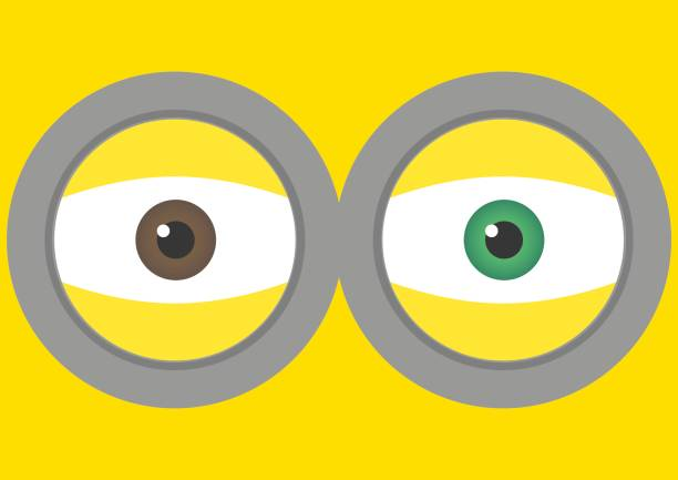 Vector illustration of goggle with two eyes on yellow color background. Vector illustration background design. vector art illustration