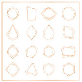 Vector illustration of gold segments frames set isolated on white background. Geometric polyhedron thin line frames collection for wedding invitation, greeting cards, logo, elements for web banner