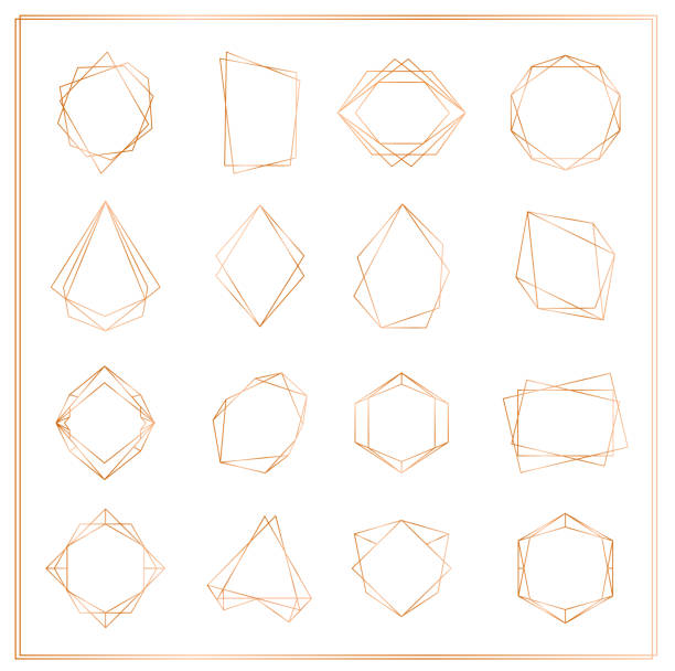 vector illustration of gold segments frames set isolated on white background. geometric polyhedron thin line frames collection for wedding invitation, greeting cards, logo, elements for web banner. - geometric border stock illustrations, clip art, cartoons, & icons