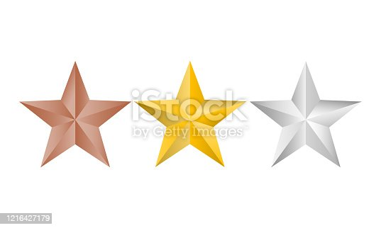 Vector illustration of Gold, silver and copper stars logo for your design, isolated on white background. Christmas stars.