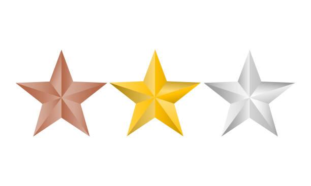 wektorowa ilustracja logo złot, srebra i miedzianych gwiazd dla twojego projektu, odizolowana na białym tle. gwiazdy świąteczne. - kształt gwiazdy stock illustrations