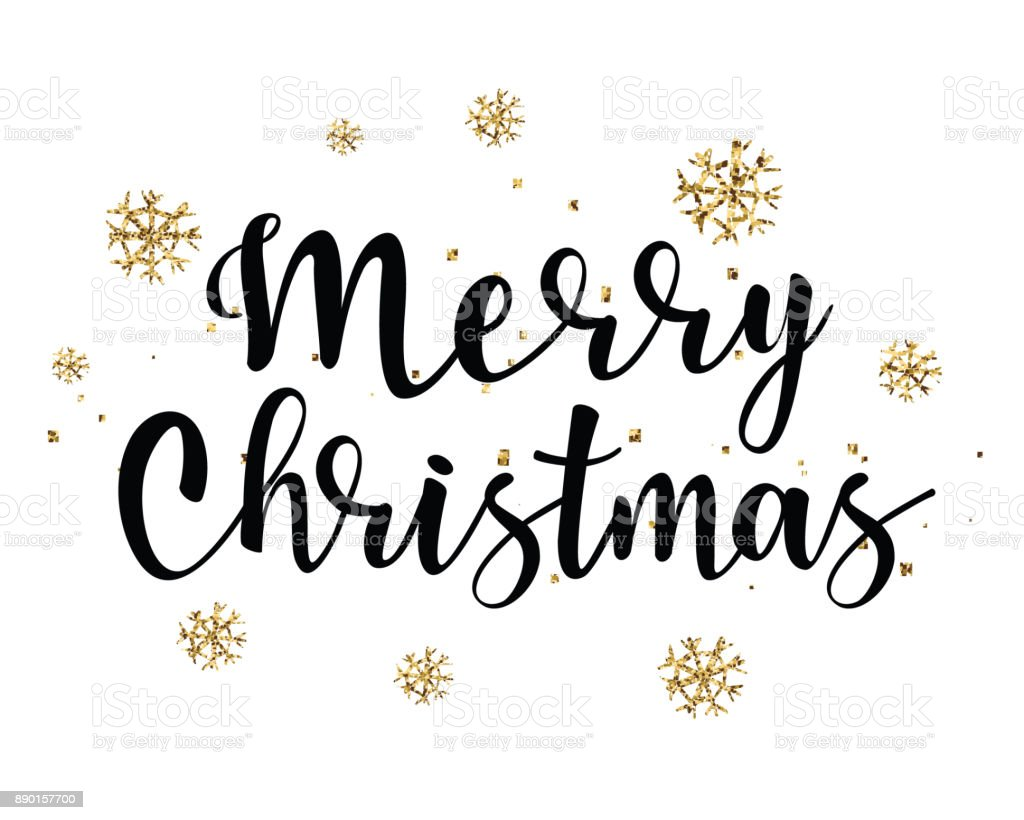 Christmas Lettering.Vector Illustration Of Gold Snowflakes With Merry Christmas Lettering Stock Illustration Download Image Now