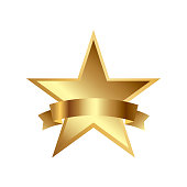 Vector illustration of gold star award with shiny ribbon with space for your text