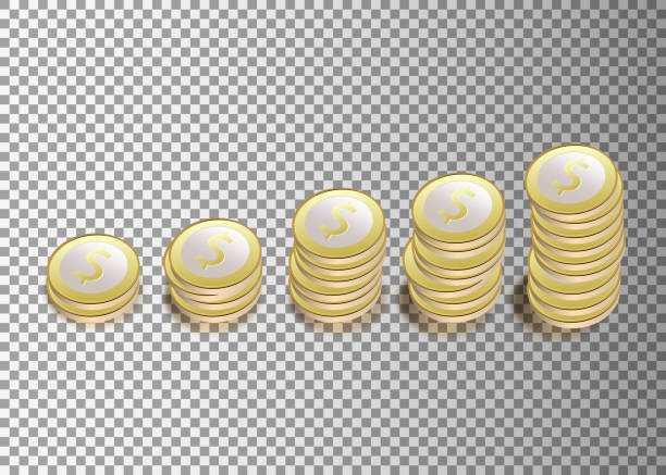 Vector Illustration of golden coins. Money isolated on transparent background. Vector Illustration of golden coins. Money isolated on transparent background. bonus march stock illustrations
