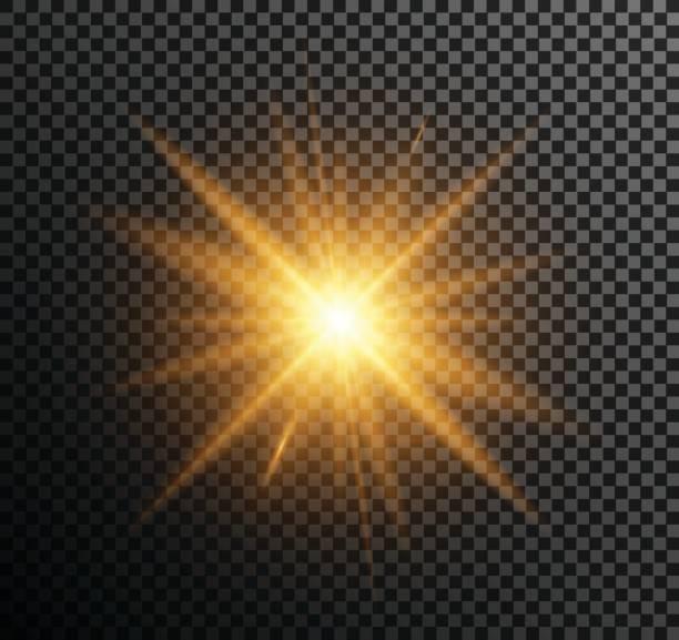 illustrazioni stock, clip art, cartoni animati e icone di tendenza di vector illustration of golden light - luce gialla