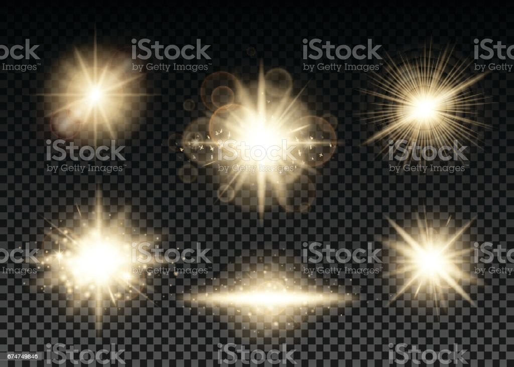 Vector illustration of golden lights set vector art illustration