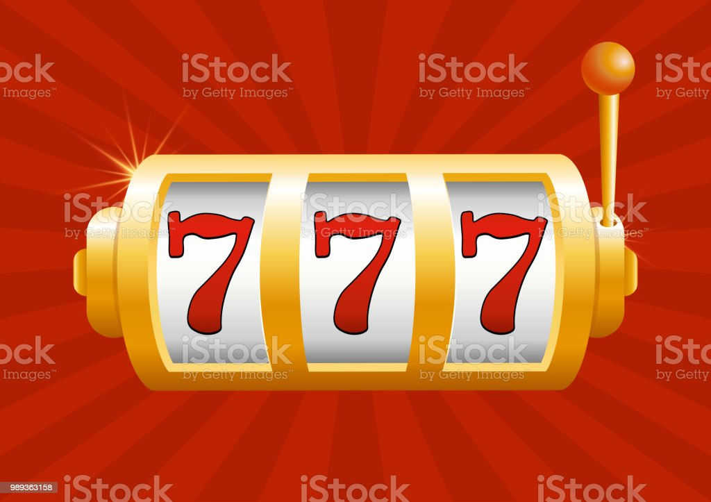 Vector illustration of golden slot machine wins the jackpot. Isolated on red background. Jackpot in game, winner. vector art illustration