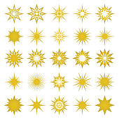 Vector illustration of golden sparks and sparks elements and symbols isolated on white background. The set of golden stars, flares
