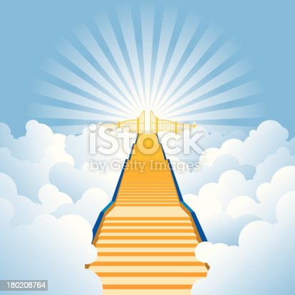 istock Vector illustration of golden stairway to heaven 180208764