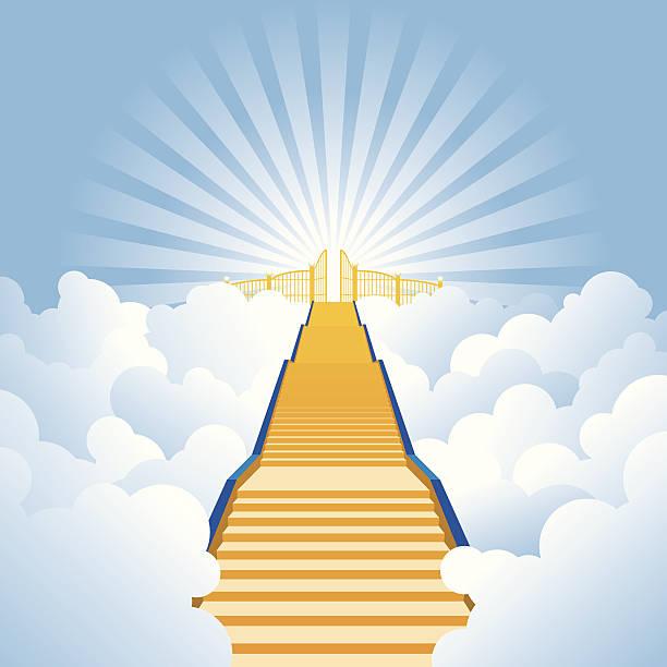 vektor-illustration der goldenen stairway to heaven - kirchenschmuck stock-grafiken, -clipart, -cartoons und -symbole