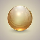 Vector illustration of golden transparent globe on light background
