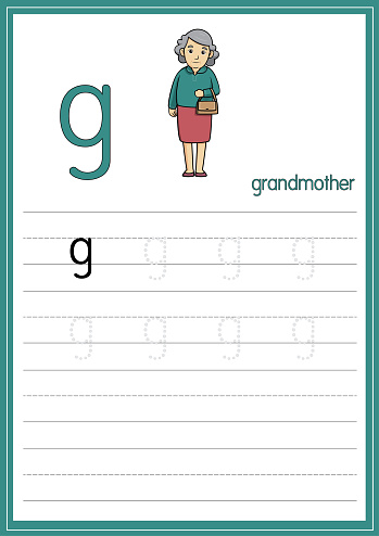 Vector illustration of Grandmother isolated on a white background. With the lower case letter g for use as a teaching and learning media for children to recognize English letters Or for children to learn to write letters Used to learn at home and school.