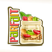 Vector illustration of granola Parfait