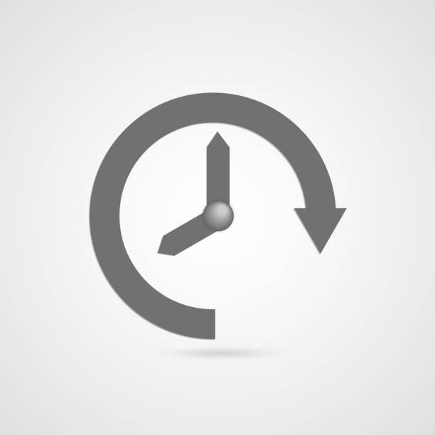 Vector illustration of gray arrow clock icon vector art illustration