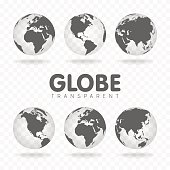 Vector Illustration of gray globe icons with different continents.