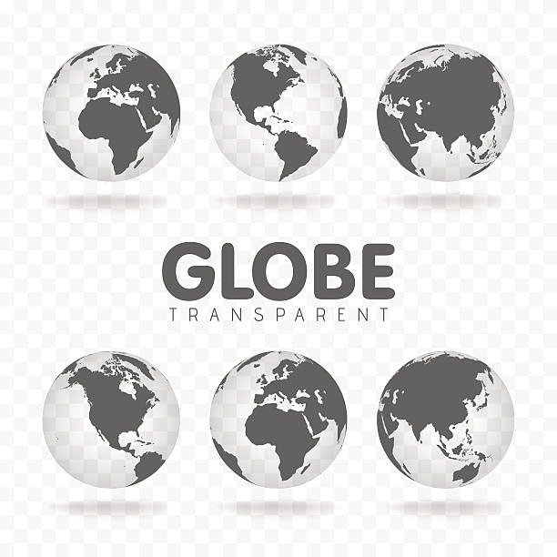 vector illustration of gray globe icons with different continents - north america maps stock illustrations, clip art, cartoons, & icons
