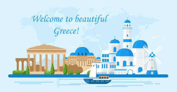 Vector illustration of Greece travel concept.Welcome to Greece. Santorini buildings, Acropolis and temple icons. Tourism banner in bright colors and flat cartoon style. vector art illustration